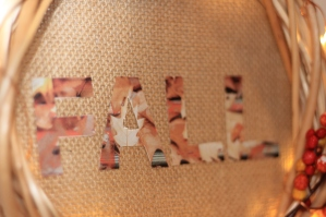 Fall letters glued onto the canvas circle in the middle of the wreath.