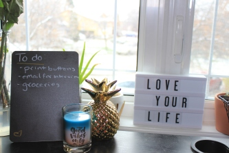 Chalkboard and Lightbox on a desk